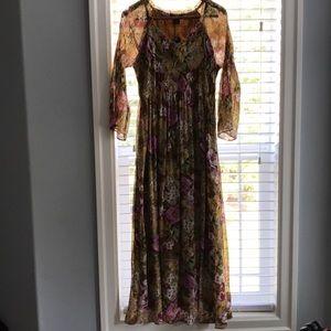Brown flower dress. Size large